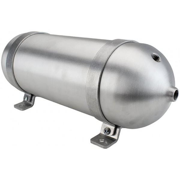 "Seamless Aluminum Air Tank - 18"" L, 5.562"" W, Four 3/8"" Ports, One 1/4"" Port, 1-1/2 Gallon"