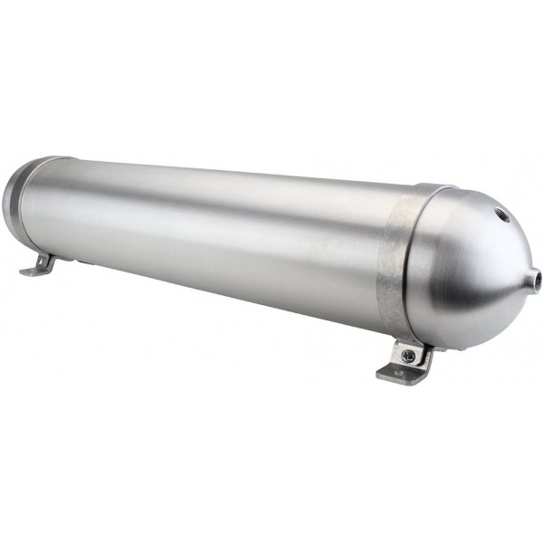 "Seamless Aluminum Air Tank - 32"" L, 5.562"" W, Four 3/8"" Ports, One 1/4"" Port, 3 Gallon"