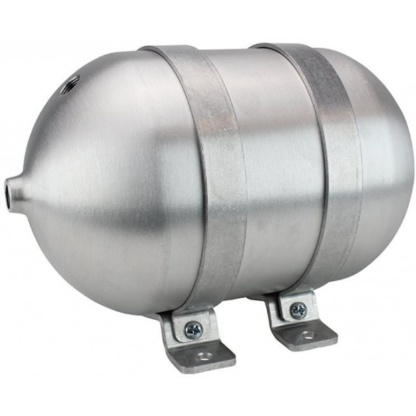 "Seamless Aluminum Air Tank - 12"" L, 6.625"" W, Four 3/8"" Ports, One 1/4"" Port, 1-1/4 Gallon"
