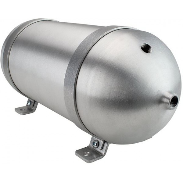 "Seamless Aluminum Air Tank - 18"" L, 6.625"" W, Two 1/4"" Ports, 2 Gallon"
