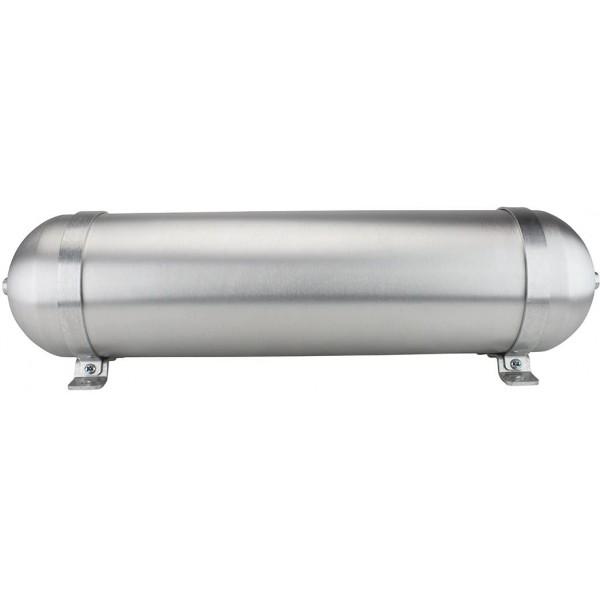 "Seamless Aluminum Air Tank - 24"" L, 6.625"" W, Two 1/4"" Ports, 3 Gallon"