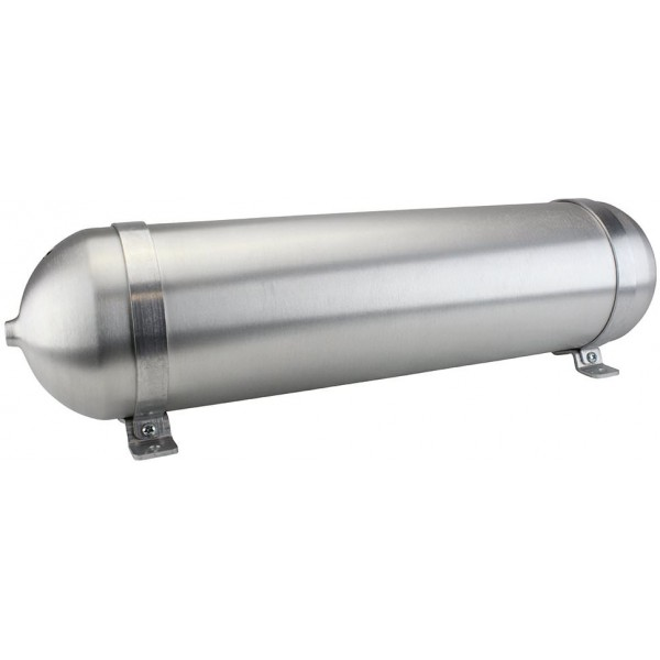 "Seamless Aluminum Air Tank - 28"" L, 6.625"" W, Four 3/8"" Ports, One 1/4"" Port, 3.4 Gallon"