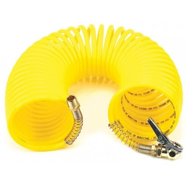 "35 Ft. Coil Hose, with 1/4"" M Swivel, with Close Ended Clip-On Chuck"