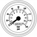 "2"" Dual Needle Gauge (White Face, Illuminated, 160 PSI)"