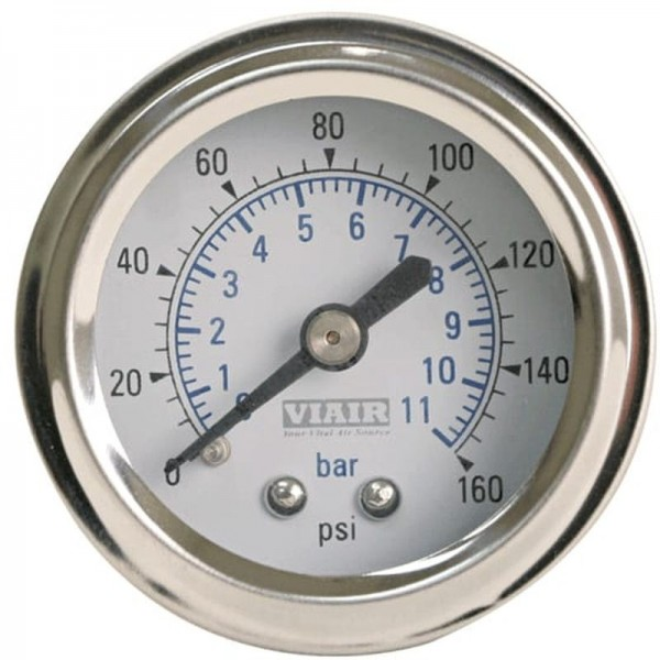 "1.5"" Single Needle Gauge (White Face, No Light, 160 PSI)"