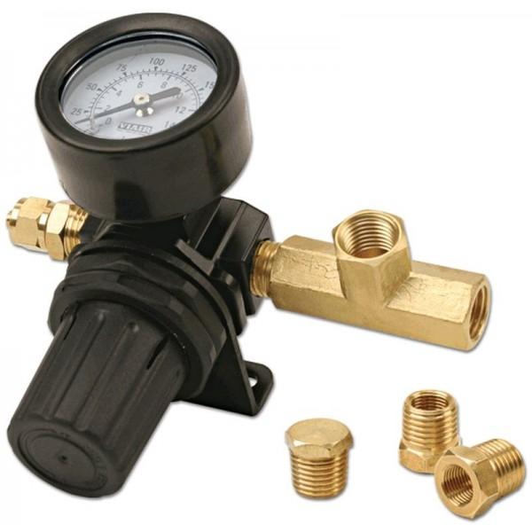Viair's 90150 inline 200 PSI pressure regulator with bracket and brass fittings.