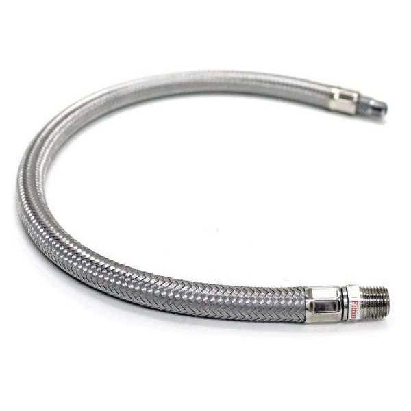 "18"" S.S. Braided Leader Hose (1/4"" M to 1/4"" M, NPT, Swivel)"